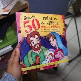 más de 50 relatos de la biblia para niños …versión grande …  selección y versiones de sergio gaspar mosqueda … 95 páginas … editorial Emu