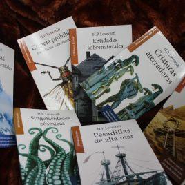 7 libros de h.p. lovecraft juntos por Q115 … serie biblioteca escolar … ciencia prohibida, entidades sobrenaturales, criaturas aterradoras, bajo las pirámides, singularidades cósmicas, pesadillas de alta mar, pesadillas y posesiones mentales … cada tiene 95 páginas